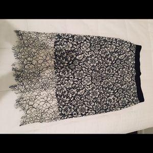 Express Midi Lace Trim Skirt